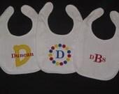3 Personalized Bibs Gift Set Baby Boy Monogram Initial Name