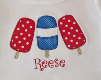 Personalized July 4th Polka Dot Popsicle Shirt Fitted Short Sleeve
