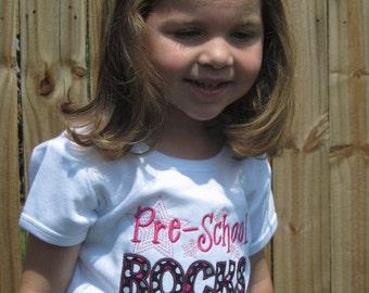 Pre School Rocks Shirt Girl Short Sleeve