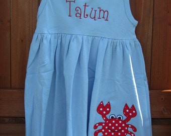 Personalized Crab Dress Red and Blue