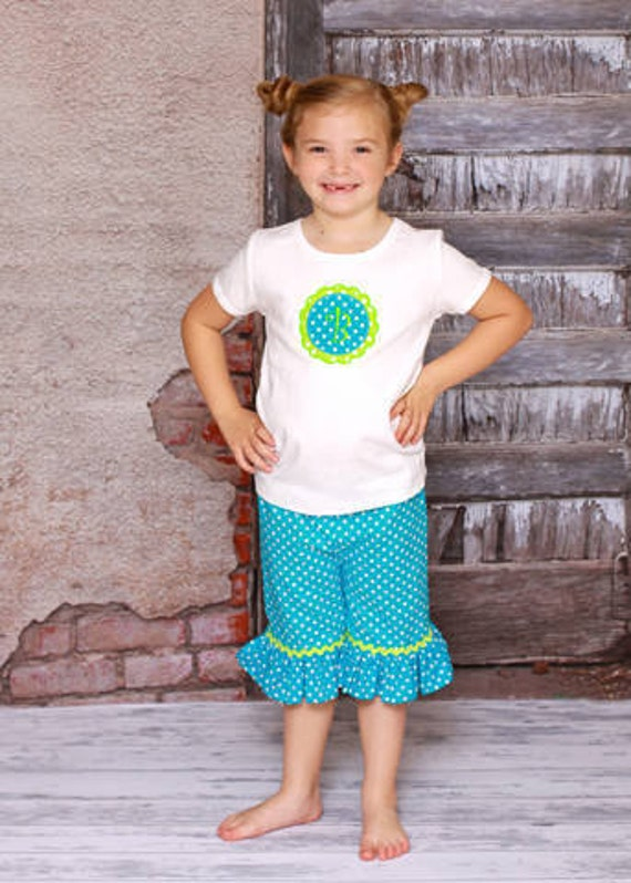 SALE Personalized Scalloped Monogram shirt and Ruffle Capris Teal and Lime 18m Last One