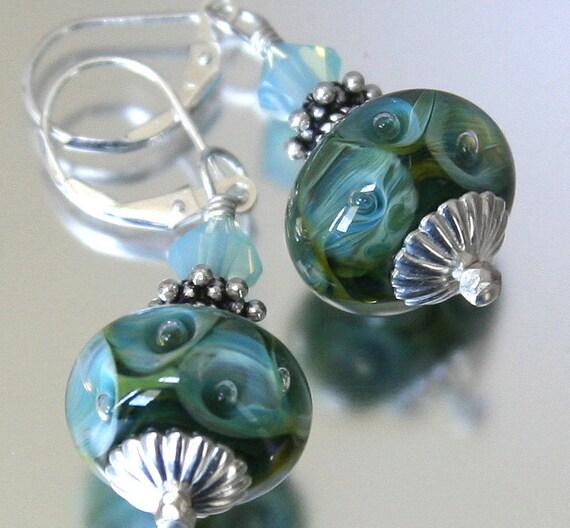 blue green bubble earrings