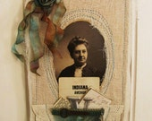 meet violet... altered collage of cabinet card with hand dyed ribbon