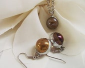 soldered iridescent marble necklace and earring set - free shipping