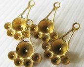 Multi Stone Raw Brass Glue-In Settings - Charms - Drops - Embellishment - Focal - 15x11mm