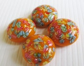 Vintage Cabochons Orange Glass Rhinestones Floral - Vintage Jewels - 15mm