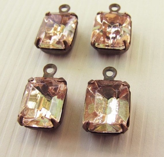Vintage Rhinestones Rosaline Vintage Pink Octagon Glass Stones - Vintage Jewels - Patina Brass Settings - Foil Back - 10x8mm