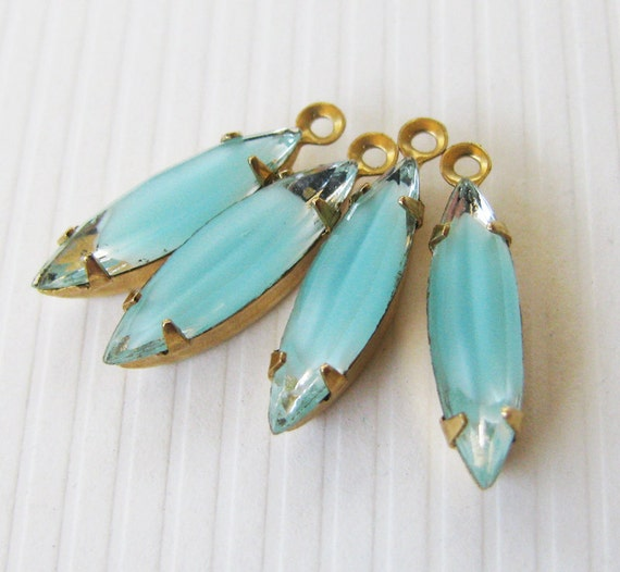 Vintage Rhinestones Aquamarine Givre and Clear Glass Navette Vintage Jewels - Faceted Stones - Foil Backs - Raw Brass Settings - 15x4mm