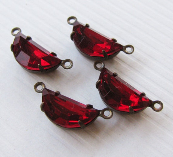 Vintage Jewel Glass Rhinestones Halfmoon Ruby Jewel Connectors - Faceted Glass Stones - Antiqued Brass Settings - 12x6mm