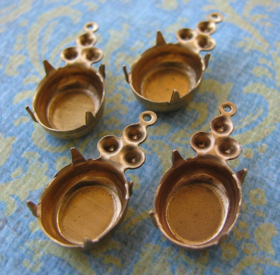 Raw Brass Oval and Round Double Settings - Brass Findings - Stone Size 12x10mm