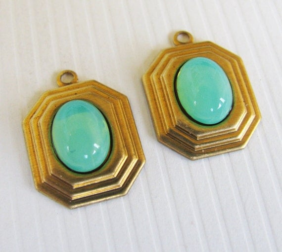 Vintage Green Opal Cabochon Oval Charms - Glass Stones - Smooth Top Jewels - Hand Antiqued Brass Settings - 15mm