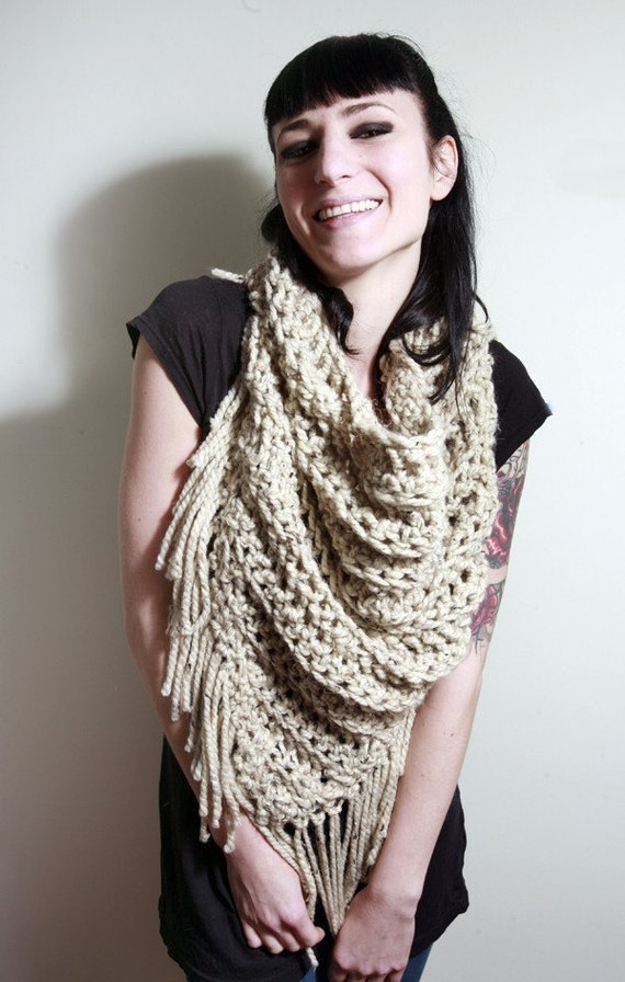 The Lola Scarf in Oatmeal/Cream/White