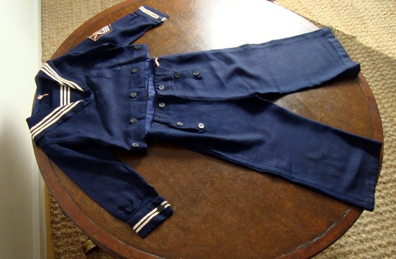 Vintage WW2 1940s Childs Sailor Suit  Navy Blue and White Size 3