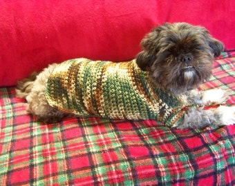 Crocheted Camo Sweater for Small to Medium size Dog