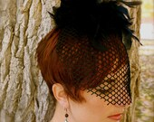 Antoinette - AS SEEN IN BUST MAGAZINE - Black Birdcage Veil with Feather Embellishment - Handmade