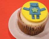 Fondant Cupcake Topper Star Birthday Robot