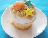 Beach Sea Shells and Starfish 3D Fondant Cupcake Toppers for Luaus and Beach Theme Parties