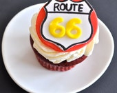 Route 66 Fondant Cupcake Topper for Birthday Parties