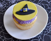 Witch Hat Fondant Cupcake Toppers for Halloween Parties and Other Events