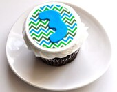 Edible Image Cookie Chevron Age Initial Fondant Cupcake Topper for Birthday Parties