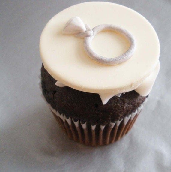 Cupcake With Engagement Ring