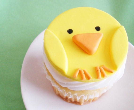 Fondant Cupcake Topper Baby Chick for Farm Theme Parties and Other Events