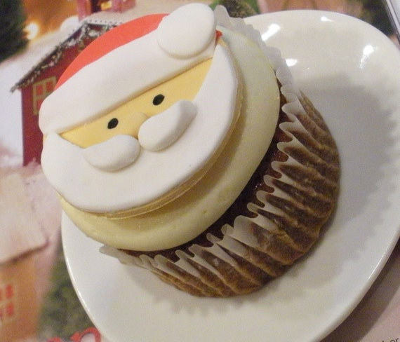 Santa Claus Fondant Cupcake Toppers for Christmas and Holiday Parties