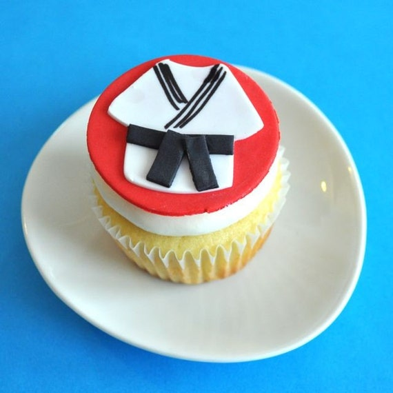 Martial Arts Fondant Cupcake Topper for Birthday Parties and Other Occasions