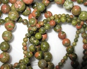8mm Unakite Round Beads - 16 inch strand