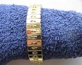 Pkg 3 - 7 Inch Single Row Gold Plated Steel Stretch Cha Cha Bracelet