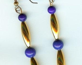 Howlite Lapis Dangle Earrings