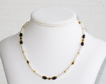 Freshwater Pearl and Tigereye Necklace