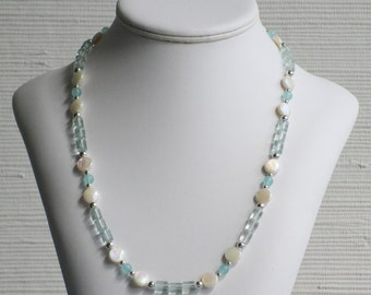 Mother of Pearl and Green Glass Bead Necklace