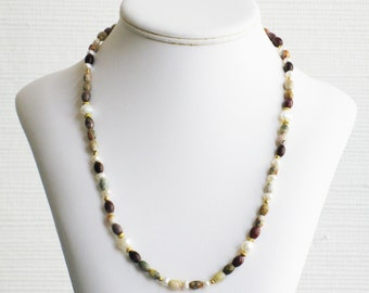 Freshwater Pearl and Moukaite Oval Bead Necklace