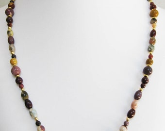Moukaite Oval and Round Bead Necklace