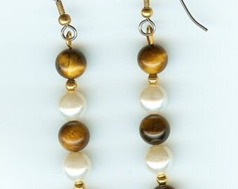 Tigereye and Glass Pearl Earrings