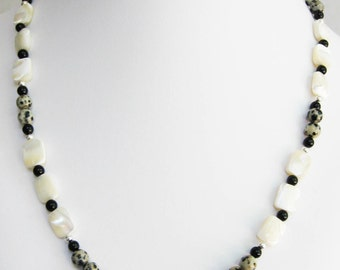Mother of Pearl, Dalmation Jasper and Black Onyx Necklace