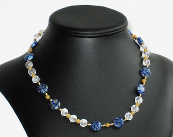 Quartz Crystal, Yellow Jade and Millefiori Choker