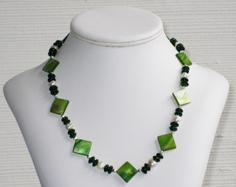 Freshwater Pearl, Green Glass and Green Mother of Pearl Necklace