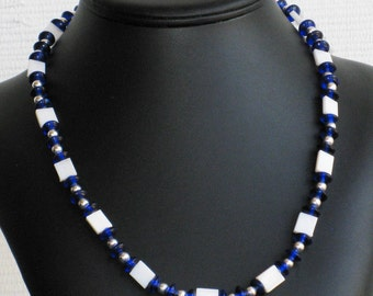 Mother of Pearl and Blue Glass Bead Necklace