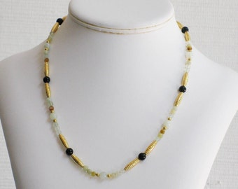 Earthtone Onyx and Black Onyx Bead Necklace