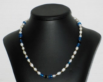 Freshwater Pearl and Turquoise Glass Bead Necklace