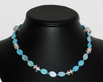 Rhinestone and Turquoise Mother of Pearl Oval Choker