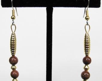 Brown Goldstone Drop Earrings