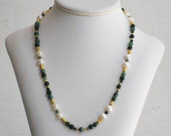Moss Agate and Freshwater Pearl Necklace