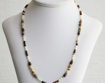 Freshwater Pearl and Moukaite Bead Necklace