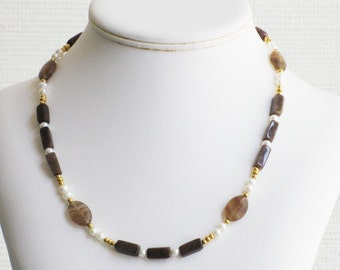 Freshwater Pearl, Jasper and Smokey Glass Necklace