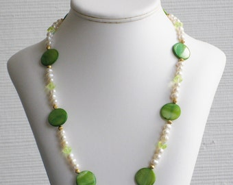 Freshwater Pearl, Green Mother of Pearl and Light Green Glass Bead Necklace