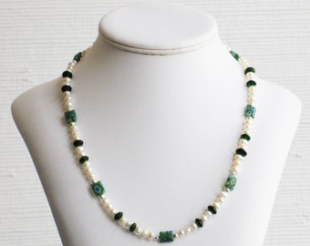 Freshwater Pearl and Green Millefiori Bead Necklace