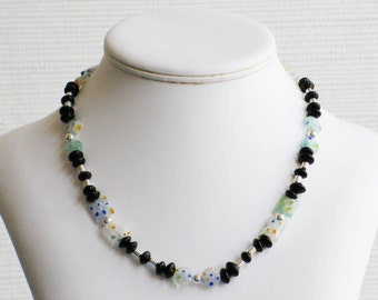 Black Glass and Multicolor Millefiori Bead Necklace